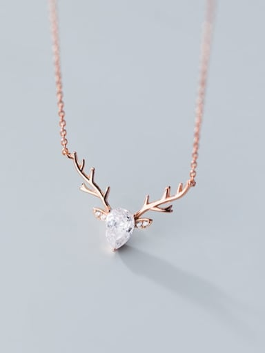 925 Sterling Silver  Minimalist  Elk pattern horn pendant Necklace