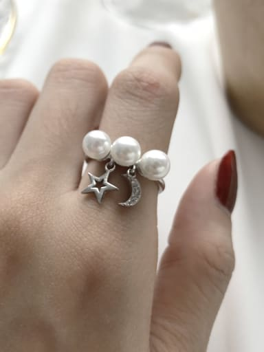 925 Sterling Silver Imitation Pearl White Star Trend Bead Ring