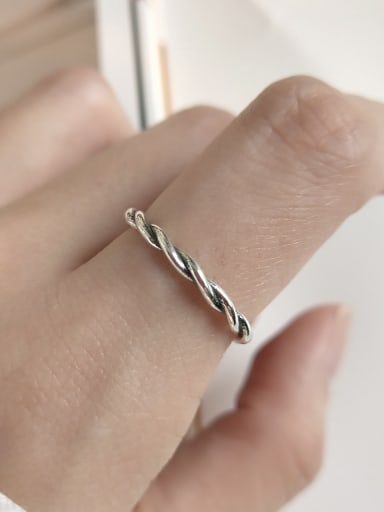 925 Sterling Silver Minimalist  Twisted Braid Free Size Midi Ring