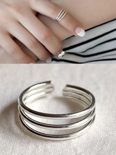 J33 925 Sterling Silver Geometric flower Vintage Stackable Ring