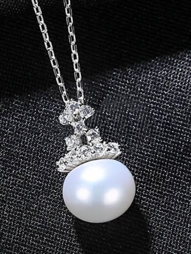 white 7B10 925 Sterling Silver Freshwater Pearl Crown Minimalist Necklace