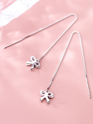 925 Sterling Silver Minimalist  Cute Hollow Bow  Threader Earring
