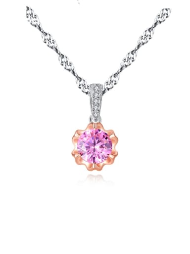 925 sterling silver simple Pink Cubic Zirconia Flower Pendant Necklace