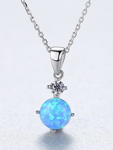 Blue 20F09 925 Sterling Silver Opal blue simple Square Pendant Necklace