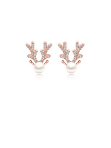 Copper Cubic Zirconia White Deer Cute Stud Earring