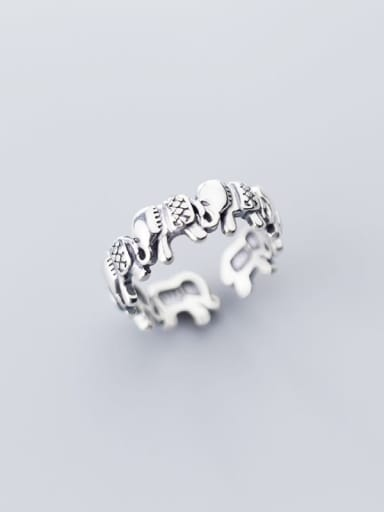925 Sterling Silver Elephant Vintage Band Ring