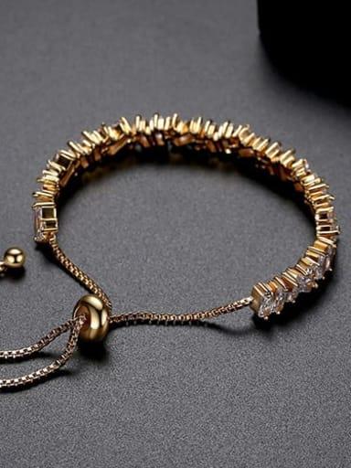 White zirconium plating 18K t14e17 Copper Cubic Zirconia Square Ethnic Link Bracelet