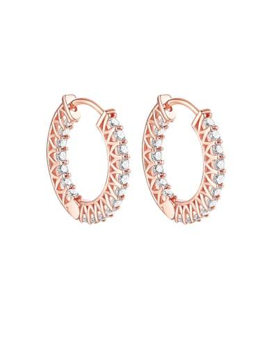 925 Sterling Silver Cubic Zirconia Geometric Luxury Hoop Earring