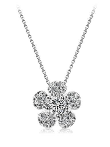 Copper Minimalist  Cubic Zirconia Flower  Pendant Necklace