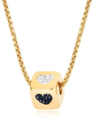 1652 gold necklace Titanium Enamel Heart Minimalist geometry pendant Necklace