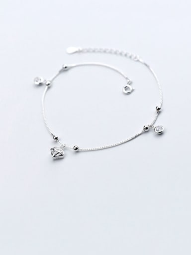 925 Sterling Silver Minimalist  Triangle  Cubic Zirconia Anklet