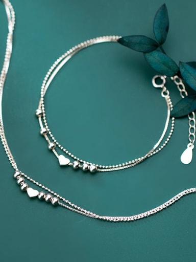 925 Sterling Silver Smooth Heart Minimalist Strand Bracelet