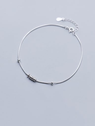 925 Sterling Silver Minimalist   Round  Bead Anklet