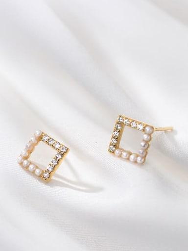 925 Sterling Silver Imitation Pearl Geometric Minimalist Stud Earring