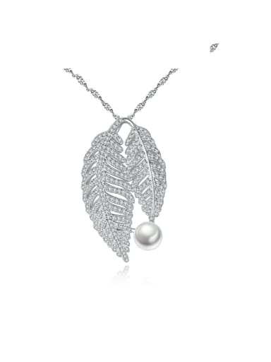 925 Sterling Silver Cubic Zirconia Fashion luxury leaves pendant  Necklace