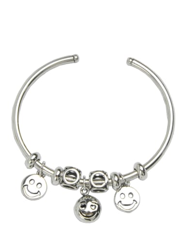 Vintage Sterling Silver With Platinum Plated Fashion Smooth Smiley Bangles