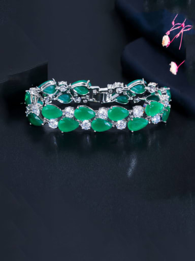 green Copper With Platinum Plated Luxury Water Drop Bracelets