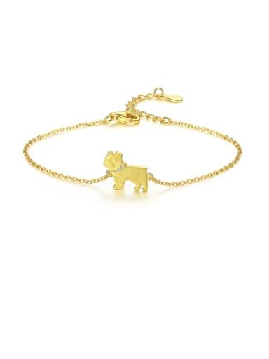 18K 12B06 925 sterling silver simple cute Dog Bracelet