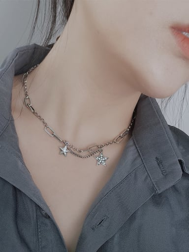 Vintage Sterling Silver With Platinum Plated Fashion Star Necklaces