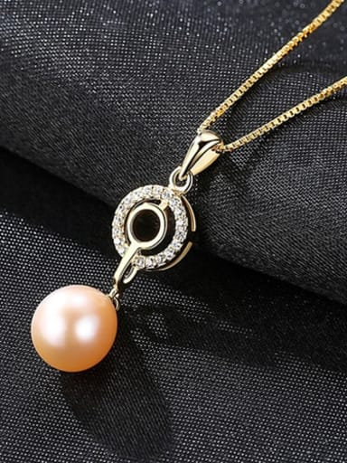 Pink 6f07 925 Sterling Silver  3A Zicon Freshwater Pearl Geometric Pendant Necklace