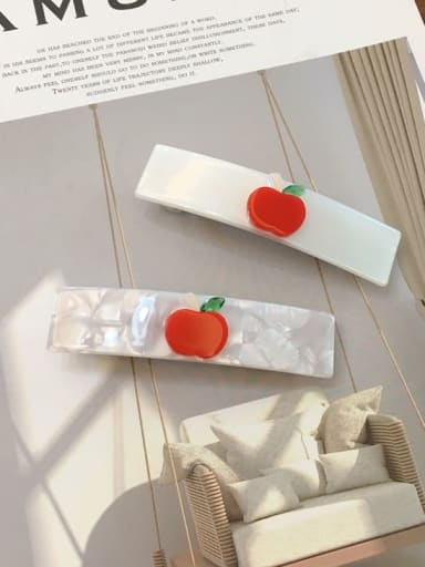 Alloy Cellulose Acetate Minimalist Cartoon apple pattern Spring clip Girl top clip