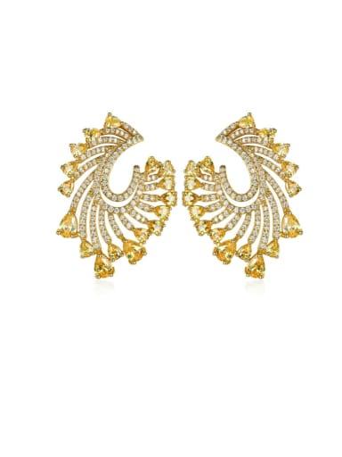 gold Copper Cubic Zirconia Geometric Luxury Stud Earring