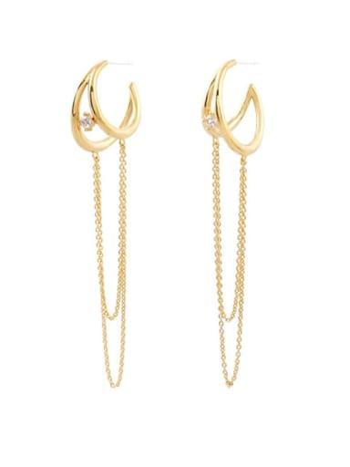 Copper Cubic Zirconia Tassel Minimalist Huggie Earring