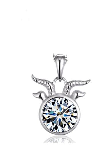 925 Sterling Silver Rhinestone White Minimalist  Constellation  Capricorn Pendant
