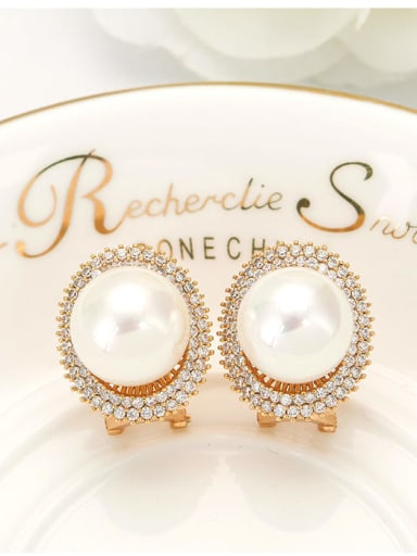 Copper Imitation Pearl Round Dainty Stud Earring