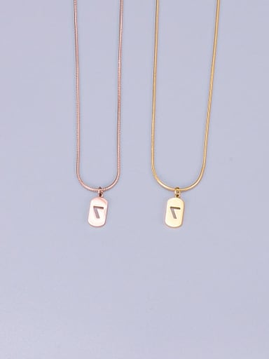 Titanium Lucky Number 7 Square Necklace