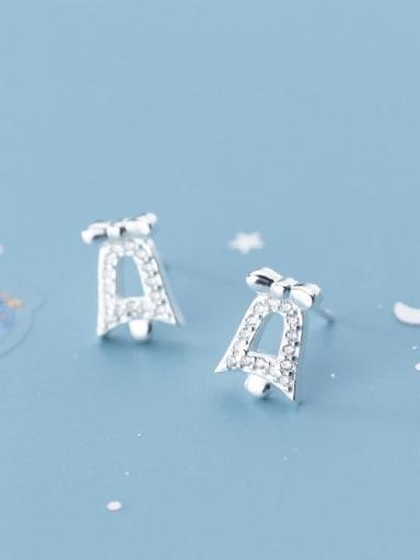 925 Sterling Silver Cubic Zirconia Bell Cute  Bells Stud Earring