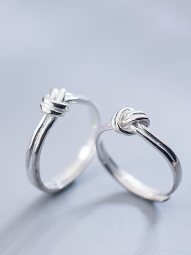925 Sterling Silver  Minimalist knot Free Size Ring