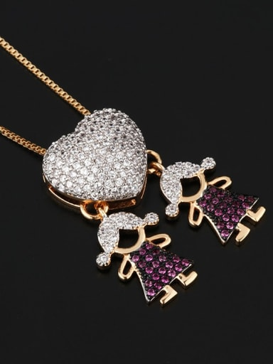 Twin girl Brass Cubic Zirconia Heart Cute boy and gril pendant Necklace