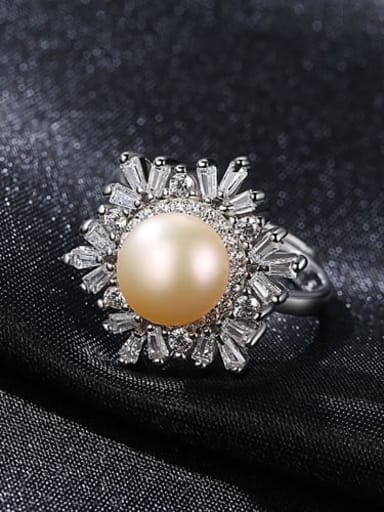 Pink 10A11 925 Sterling Silver Freshwater Pearl  Flower Trend Band Ring
