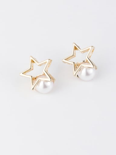 B  Star Pearl Zinc Alloy Imitation Pearl White Star Minimalist Stud Earring