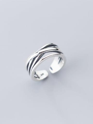 925 Sterling Silver Irregular Vintage Free Size Stackable Ring