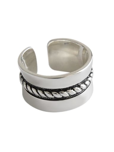 925 Sterling Silver Antique hemp lace wide face woman  Free Size Rings