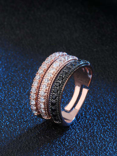 rose black Brass Cubic Zirconia Geometric Luxury Stackable Ring