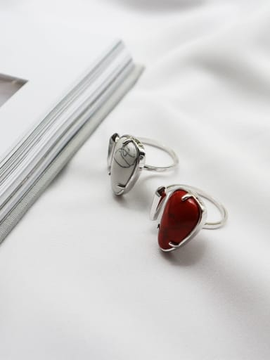 925 Sterling Silver Acrylic Water Drop Minimalist Midi Ring