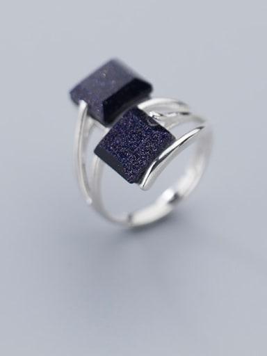 925 Sterling Silver Obsidian Black Geometric Minimalist Free Size  Ring