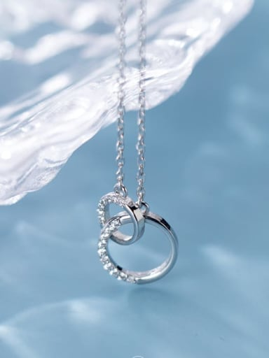 925 Sterling Silver Rhinestone Simple fashion ring pendant  Necklace