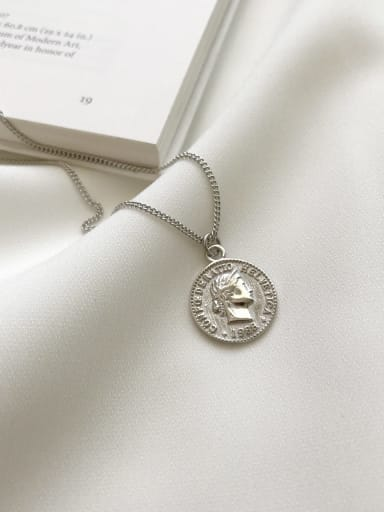 925 Sterling Silver Retro Round Coin Pendant Necklace