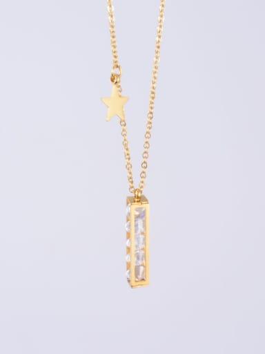 Golden Titanium  Pentagram Geometric  Rhinestone  Necklace
