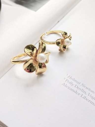 925 Sterling Silver Imitation Pearl White Flower Vintage Midi Ring