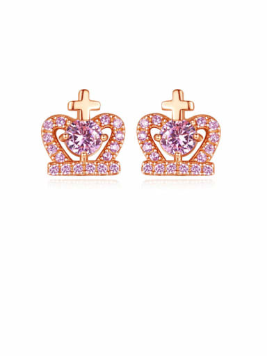 925 Sterling Silver Cubic Zirconia Purple Crown Cute Stud Earring