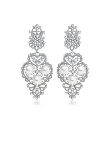 Copper Cubic Zirconia Flower Luxury Drop Earring