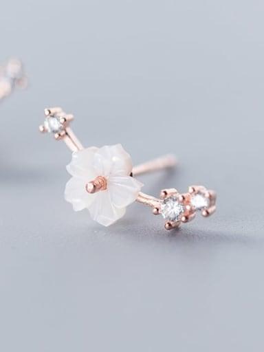 925 Sterling Silver Resin  Flower Cute Stud Earring