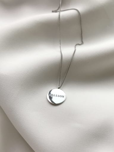 925 sterling silver simple fashion round letter necklace