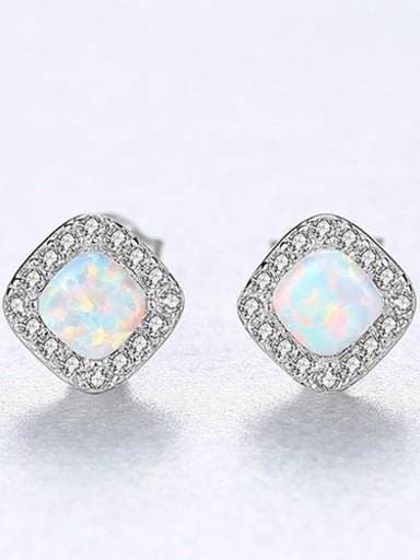 White 18H05 925 Sterling Silver Opal Square Minimalist Stud Earring