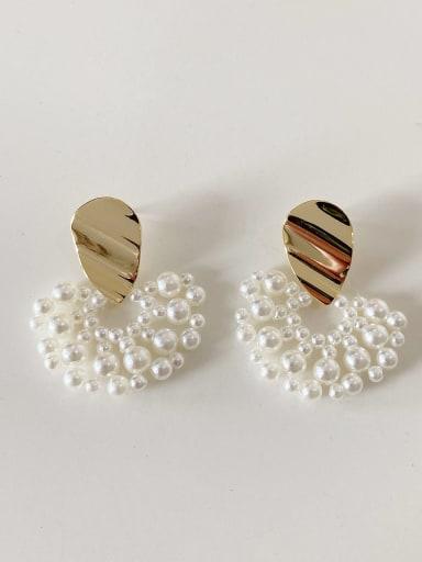 925 Sterling Silver Imitation Pearl Irregular Minimalist Stud Earring